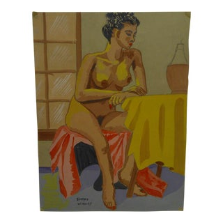 "Original Painting on Paper ""Nude at the Table"" by Tom Sturges Jr., 1947"