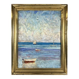 Vintage Mid-Century Moseley Impasto Oil on Board Seascape Painting For Sale