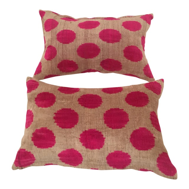 Pink Dots Handmade Pillows - A Pair - Image 1 of 9