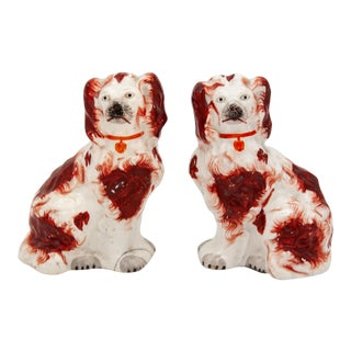 Early 20th Century Red & White Staffordshire Dogs - a Pair For Sale