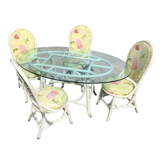 1970s Traditional Rattan Dining Set - 5 Pieces