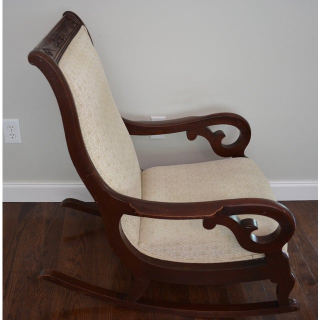Antique Victorian Mahogany Rocking Chair For Sale - Image 4 of 8