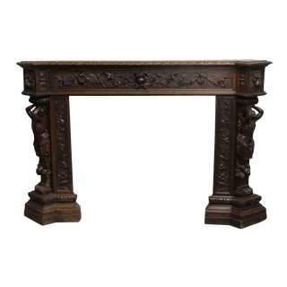 Early 1900s Figural Mahogany Carved Mantel