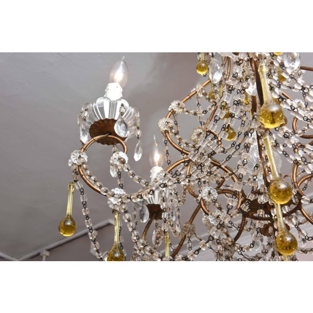Vintage Venetian Glass and Gilt Metal Chandelier For Sale In Boston - Image 6 of 10