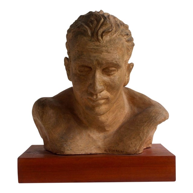 Portrait of an Athlete Clay Sculpture by A. Perelli For Sale