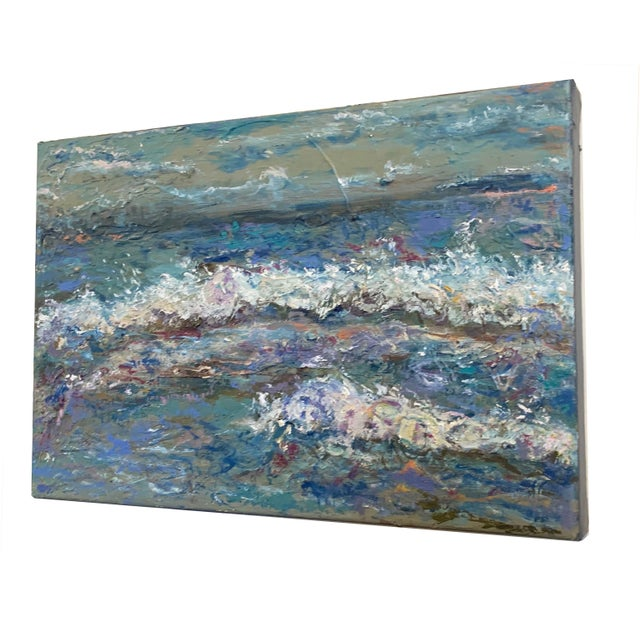 """Contemporary """"Sea Me"""" Contemporary Abstract Seascape Oil Painting by Nancy T. Van Ness For Sale - Image 3 of 5"""
