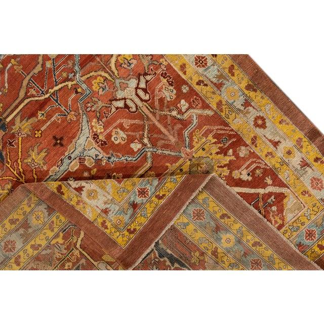 "Orange Vintage Persian Tribal Bakshaish Rug, 7'4"" X 9'4"" For Sale - Image 8 of 11"