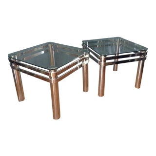 Pair of American Modern Chrome and Glass Tables Design Institute America Dia For Sale