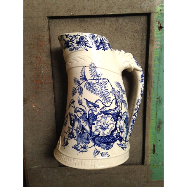 Traditional Antique Blue Transfer Ware Curved Pitcher For Sale - Image 3 of 9