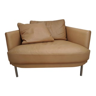 DWR Camber Armchair in Brown Leather For Sale