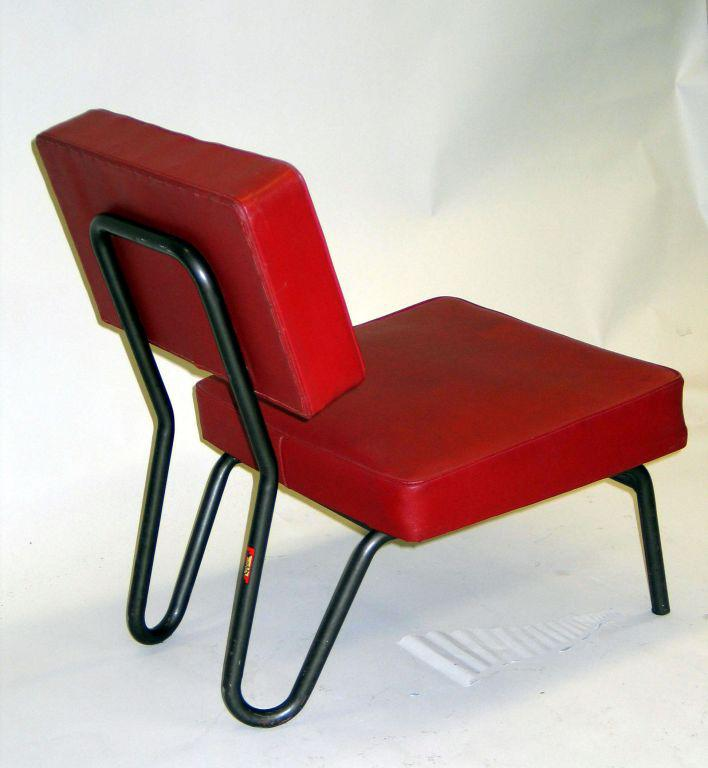 Rare, Chic Pair Of Early French Industrial Modern Lounge / Slipper Chairs  In Tubular Metal