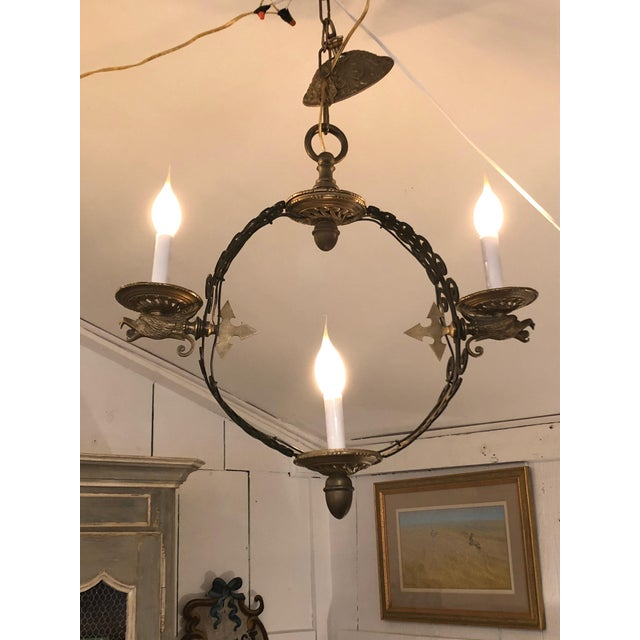 Pair of Extraordinary and Rare Medieval Style Antique Light Fixtures For Sale - Image 4 of 12