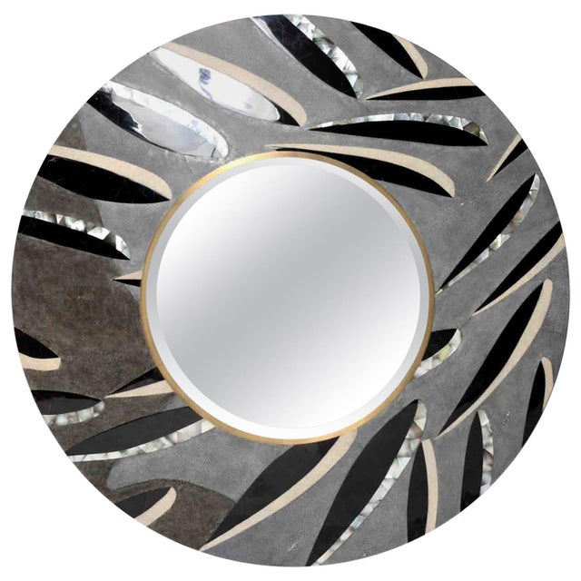 Early 21st Century Feather Pattern Mirror in Shagreen and Pen Shell by Kifu Paris For Sale - Image 5 of 5