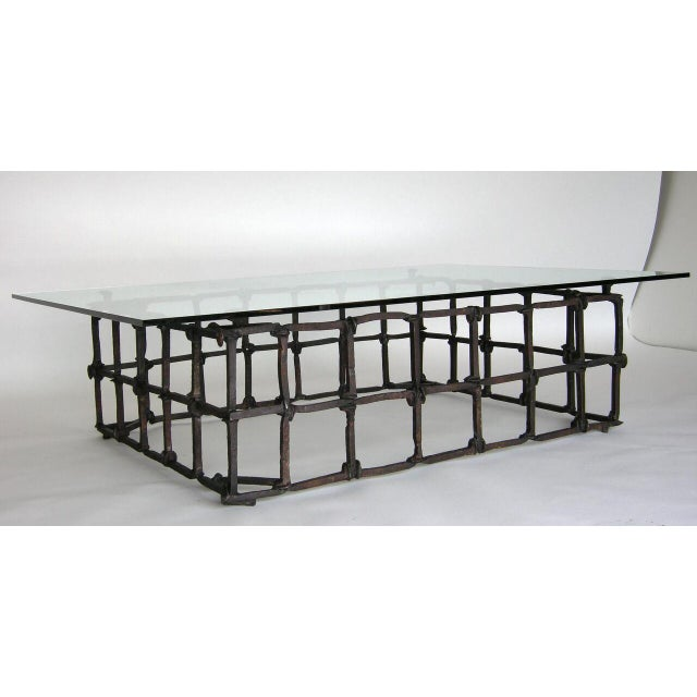 Custom Rail Road Spike Coffee Table with Glass Top For Sale - Image 4 of 9