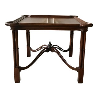 Chippendale Baker-Style Mahogany Faux Bamboo Table