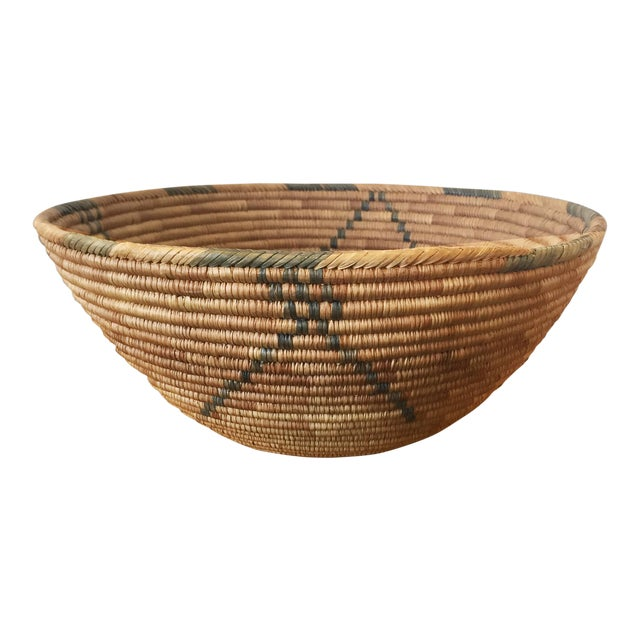 1950s Southwestern Coiled Indian Basket For Sale