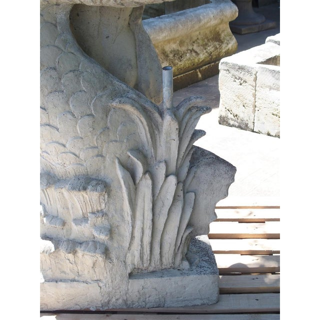 Cast Stone Putto and Dolphin Fountain Element Statue, France For Sale - Image 12 of 13