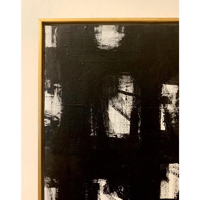 Mid-Century Modern Original Black and White Franz Kline-Inspired Framed Painting For Sale - Image 3 of 3
