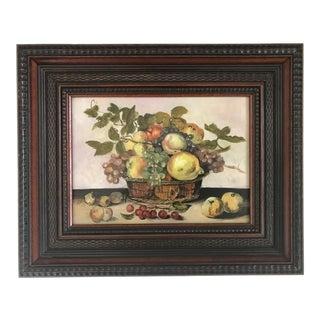 "French ""Basket of Fruit"" Framed Still Life Oil Painting For Sale"
