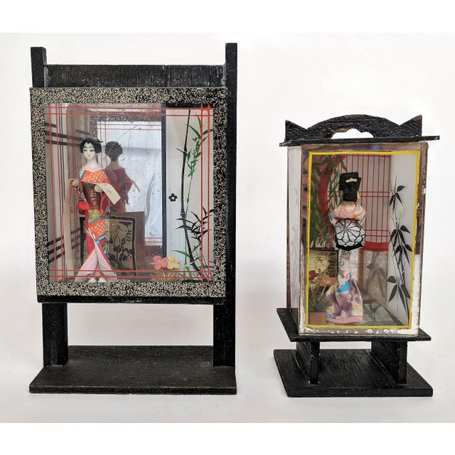 Vintage Japanese Miniature Geisha Shadow Boxes - A Pair - Image 11 of 11