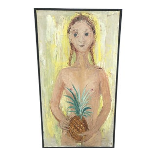 Mid 20th Century Abstract Figurative Female Nude Holding a Pineapple Painting, Framed For Sale