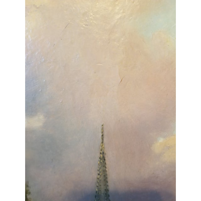 Antique 19th Century Landscape Church Steeple Oil Painting For Sale - Image 11 of 12