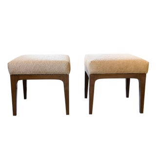 Mid-Century Modern Style Laser Cut Cowhide Ottomans - a Pair For Sale