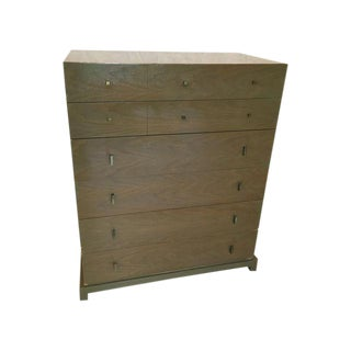 Cerused Oak Dresser with Brass Pulls by Albert Co., 1949 For Sale