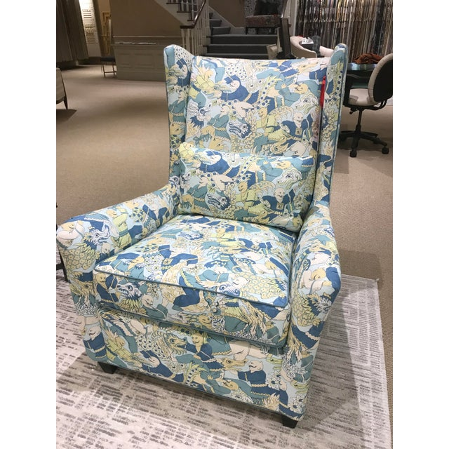 NY floor sample. Swaim Kaleidoscope Heath wing chair. Tight back, loose seat, blendown back lumbar pillow. Fabric:...