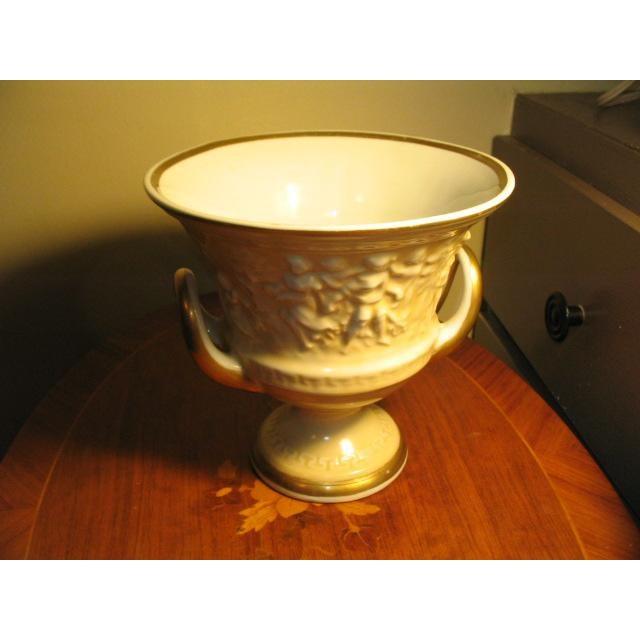 Vintage Von Schiermolz Large Urn With Gold Trim & Handles 7 inch diameter top,4 inch diameter base, (7 inches Tall):Has...