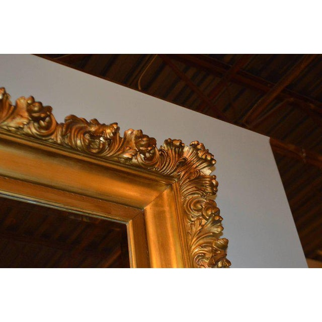 Rococo 19th Century Italian, Gilded Large Mirror Hand Carved on Wood and Plaster For Sale - Image 3 of 8