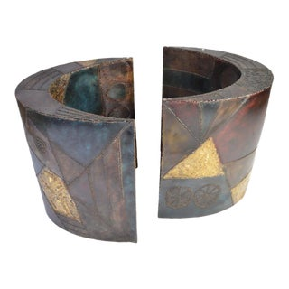 Paul Evans Crescent Shaped Welded and Enameled Steel Pedestal Bases Model Pe24 - a Pair For Sale