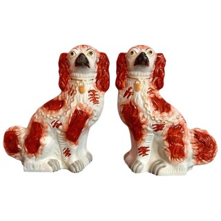 Pair of 19th Century English #1 Staffordshire Red Seated Spaniel Dogs For Sale