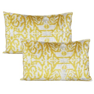 Canary Yellow Silk Velvet Down Feather Pillows - Set of 2 For Sale