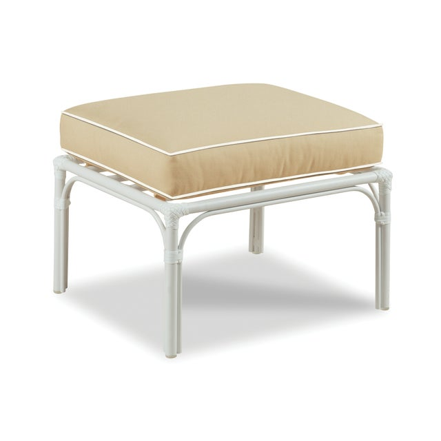 Traditional Haven Outdoor Ottoman, Antique Beige and White For Sale - Image 3 of 3