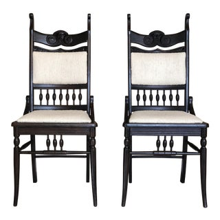 19th Century Victorian Carved Black Oak Chairs - a Pair For Sale