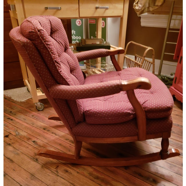 Traditional 1960s Vintage Sam Moore Upholstered Rocking Chair For Sale - Image 3 of 10