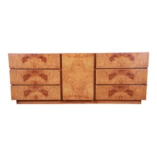 Milo Baughman Style Burl Wood Long Dresser or Credenza by Lane For Sale
