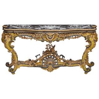 Italian Rococo Style Gilt Console Table For Sale