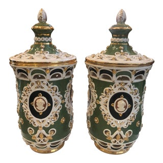 1940s Italian Open Cut Ginger Jars - a Pair For Sale