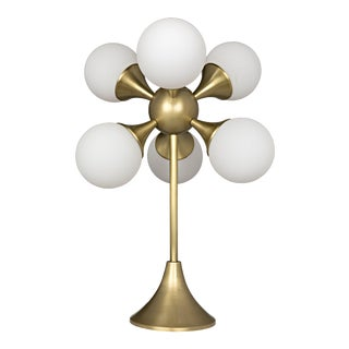Globular Table Lamp in Antique Brass For Sale