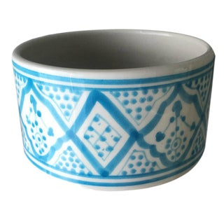 Modern Turquoise Round Porcelain Planter For Sale