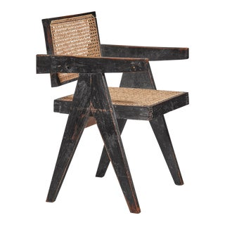 Pierre Jeanneret Chandigarh High Court black V-leg chair, 1950s For Sale