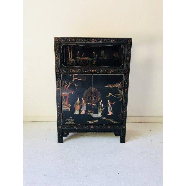 Vintage Asian Style Black Cabinet/Bar/Server For Sale - Image 4 of 7