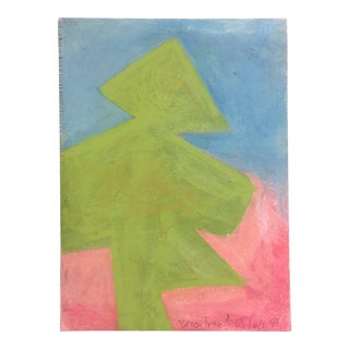 Original Vintage Robert Cooke 1980's Abstract Tree Pastel Drawing For Sale