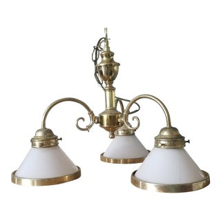 1980s Brass and Milk Glass 3 Bulb Chandelier For Sale
