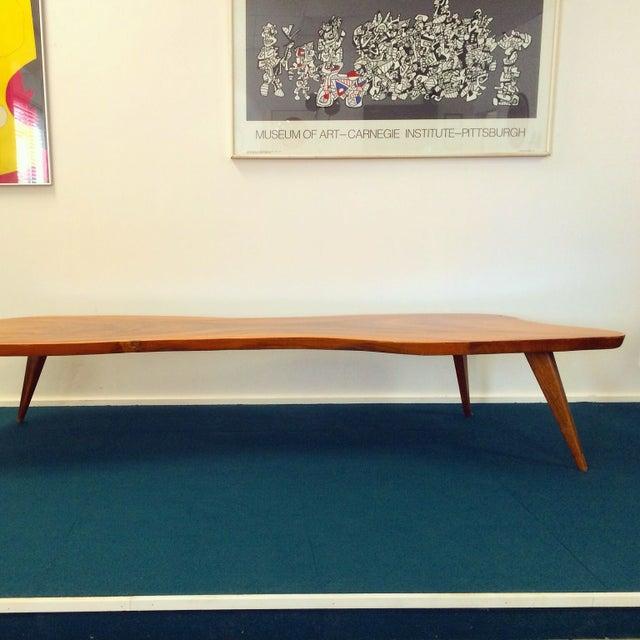 Large Vintage Monkey Pod Wood Slab Coffee Table - Image 7 of 7