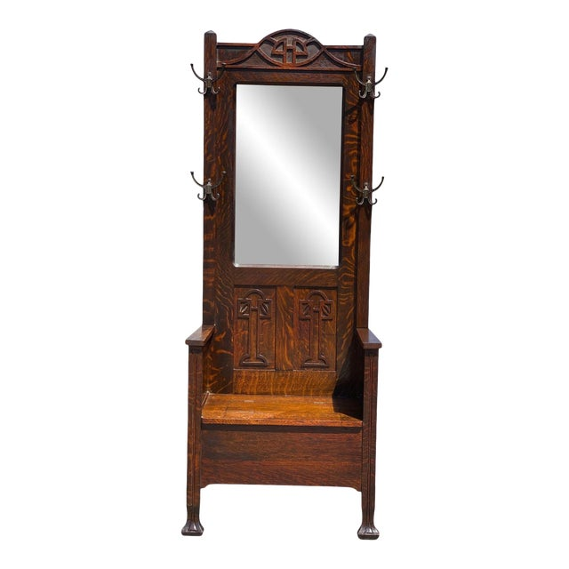 Antique Arts & Crafts Quartersawn Oak Carved Hall Tree Bench W/ Mirror For Sale