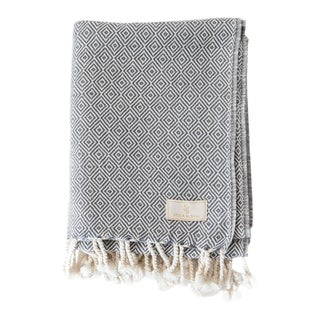 Stick & Ball Handwoven Cotton Towel in Charcoal For Sale