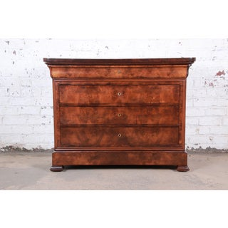 Antique French Louis Philippe Burled Walnut Chest of Drawers, Circa 1840 Preview
